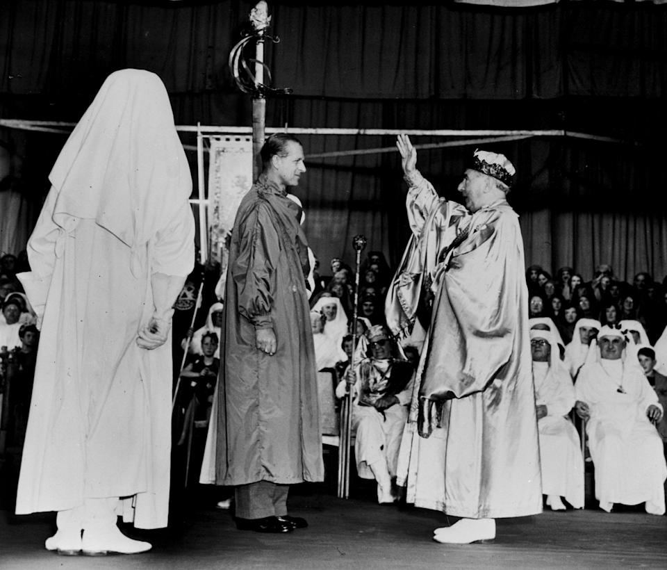 The Duke of Edinburgh, wearing the green robes of a bard.PA Archive