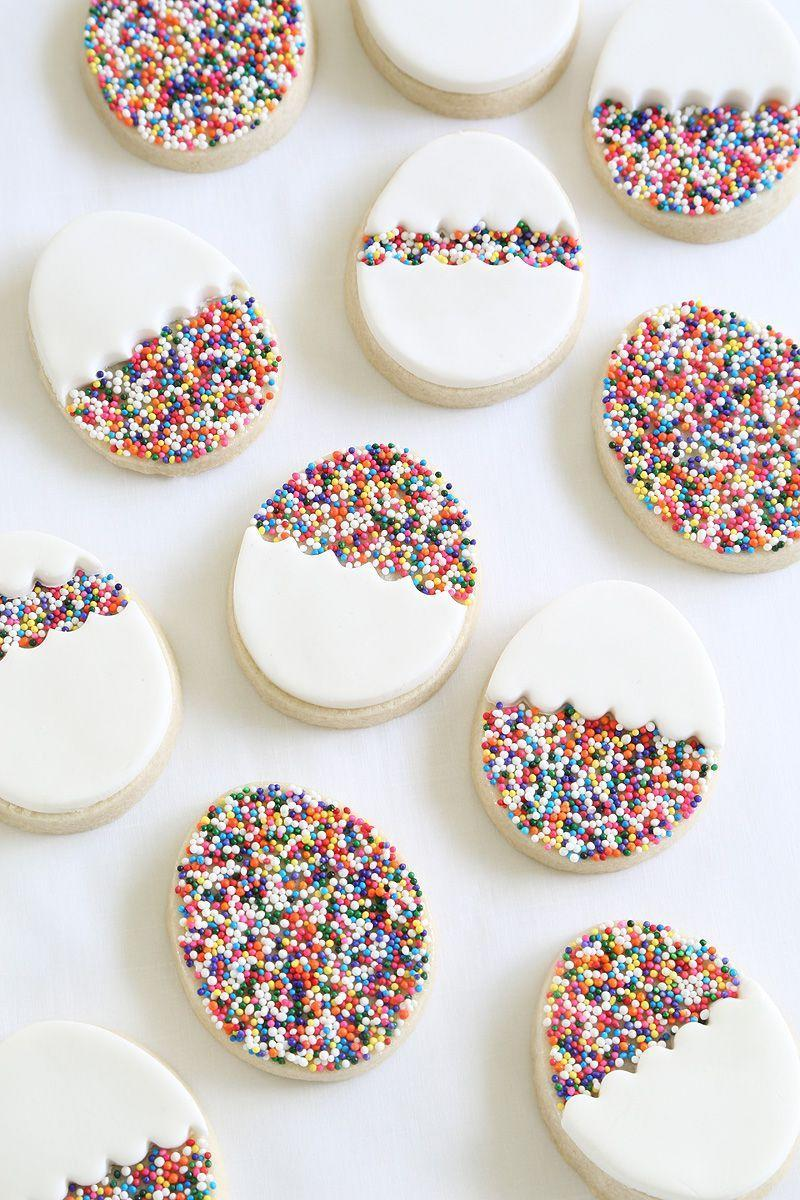 """<p>White fondant and rainbow sprinkles give these adorable sugar cookies extra oomph (and Easter cheer!).</p><p><em><a href=""""http://www.sprinklebakes.com/2016/03/egg-sprinkle-cookies.html"""" rel=""""nofollow noopener"""" target=""""_blank"""" data-ylk=""""slk:Get the recipe from Sprinkle Bakes »"""" class=""""link rapid-noclick-resp"""">Get the recipe from Sprinkle Bakes »</a></em> </p>"""