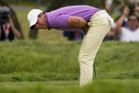 Rory McIlroy, of Northern Ireland, reacts to missing his birdie putt on the ninth green during the final round of the U.S. Open Golf Championship, Sunday, June 20, 2021, at Torrey Pines Golf Course in San Diego. (AP Photo/Jae C. Hong)