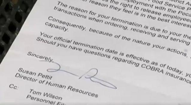 Ms Bowden was sent this letter of termination. Photo: Screenshot