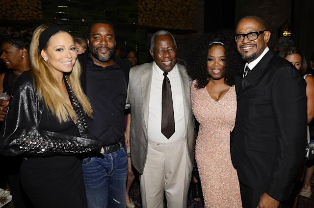 "NEW YORK, NY - AUGUST 05: (L-R) Mariah Carey, Lee Daniels, Hank Aaron, Oprah Winfrey, and Forest Whitaker attend Lee Daniels' ""The Butler"" New York Premiere, hosted by TWC, Samsung Galaxy and DeLeon Tequila on August 5, 2013 in New York City. (Photo by Larry Busacca/Getty Images for The Weinstein Company)"