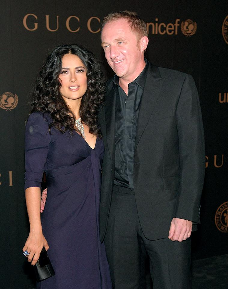 """Salma Hayek married French billionaire Francois-Henri Pinault in a small civil ceremony in Paris on Valentine's Day. In April, the couple wed again in Venice, Italy, and celebrated the occasion with famous friends such as Penelope Cruz, Bono, Edward Norton, Woody Harrelson, and Charlize Theron to name a few. Michael Loccisano/<a href=""""http://filmmagic.com/"""" target=""""new"""">FilmMagic.com</a> - February 6, 2008"""