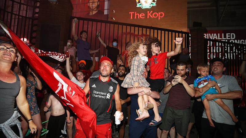 Liverpool fans, pictured here celebrating at Anfield.