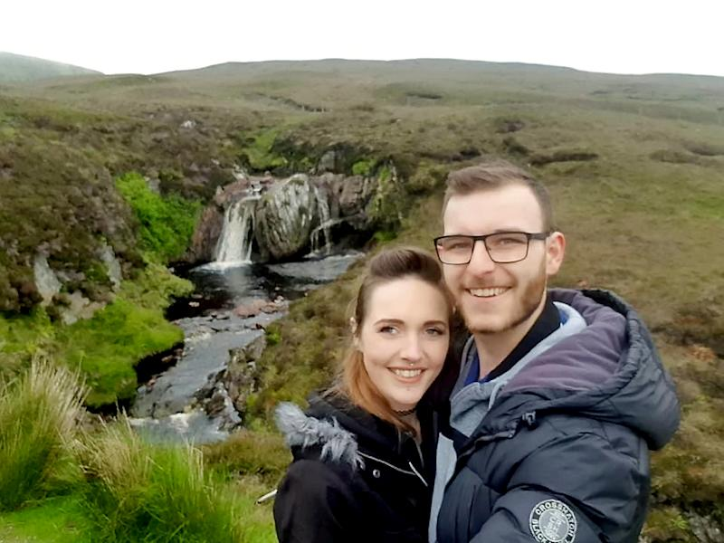 Kayleigh Compston has become one of the first people in the UK to be prescribed cannabis legally, pictured with her partner Matthew Ross. (Kayleigh Compston/SWNS)