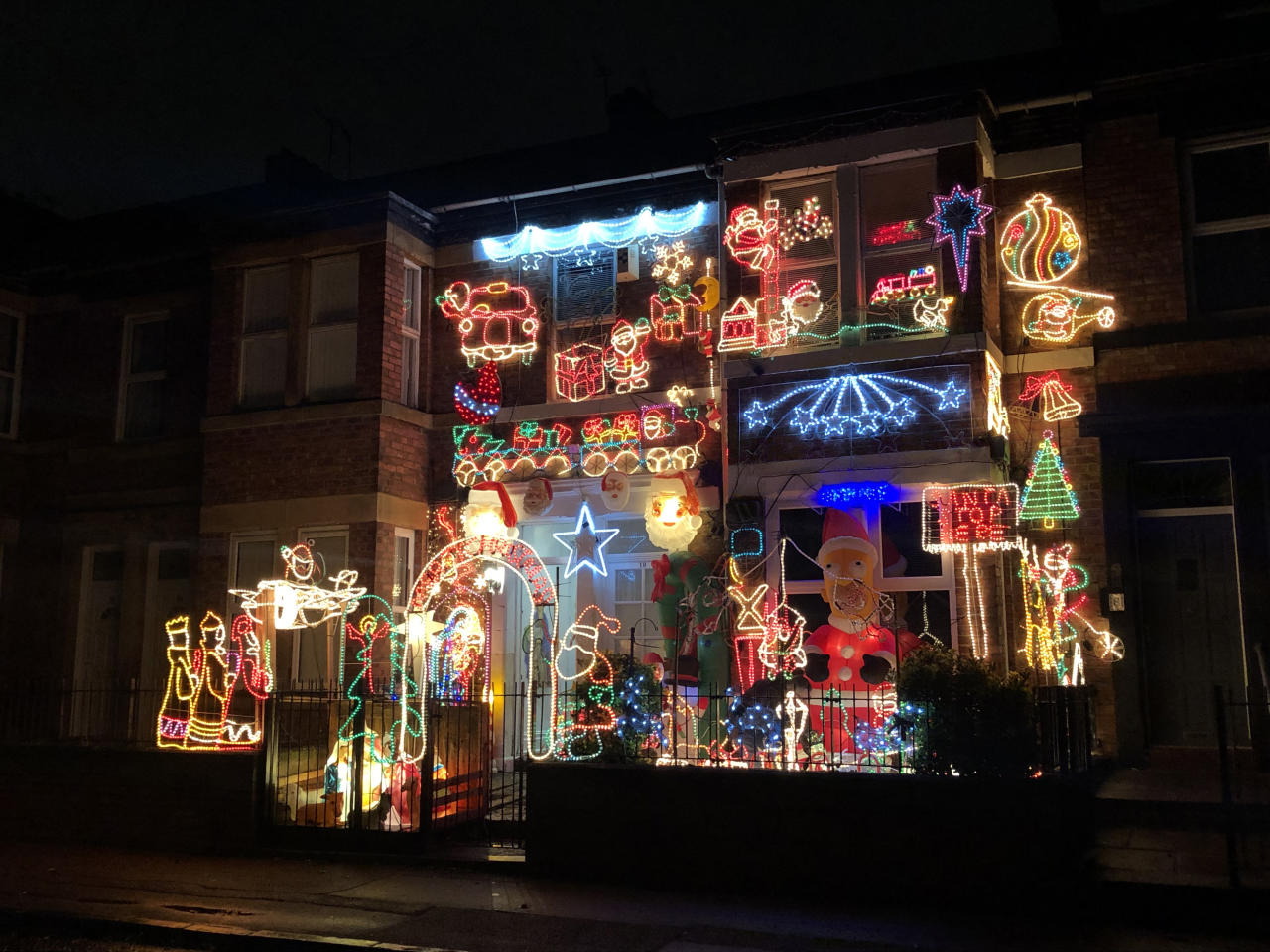 <p>This home in Gateshead has been decked out in lavish lights every year for the past 21 Christmases. (PA). </p>