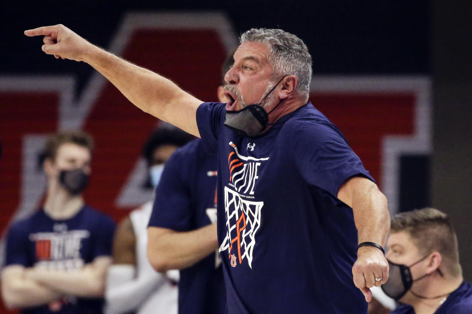 Auburn head coach Bruce Pearl reacts to a call during the first half of an NCAA basketball game against Tennessee Saturday, Feb. 27, 2021, in Auburn, Ala. (AP Photo/Butch Dill)