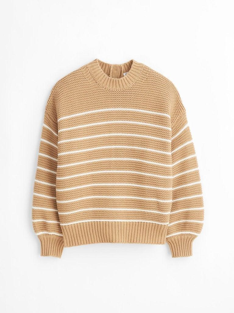 """<h2>Alex Mill Button-Back Crewneck Sweater<br></h2><br>""""Speaking of chunky sweaters, this cream-colored, balloon-sleeve option from Alex Mill has me wanting to fast-forward straight into the fall."""" <em>– Amanda Randone, Freelance Fashion Writer</em><br><br><em>Shop <a href=""""http://alexmill.com"""" rel=""""nofollow noopener"""" target=""""_blank"""" data-ylk=""""slk:Alex Mill"""" class=""""link rapid-noclick-resp"""">Alex Mill</a></em><br><br><strong>Alex Mill</strong> Button-Back Crewneck Sweater, $, available at <a href=""""https://go.skimresources.com/?id=30283X879131&url=https%3A%2F%2Fwww.alexmill.com%2Fproducts%2Fbutton-back-crewneck-sweater-in-light-khaki-ecru-stripe"""" rel=""""nofollow noopener"""" target=""""_blank"""" data-ylk=""""slk:Alex Mill"""" class=""""link rapid-noclick-resp"""">Alex Mill</a>"""