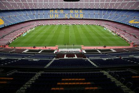 Soccer Football - La Liga Santander - FC Barcelona vs Las Palmas - Camp Nou, Barcelona, Spain - October 1, 2017 General view of the empty stadium during the match as the game is being played behind closed doors REUTERS/Albert Gea