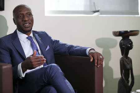 Nigerian Stock Exchange Director-General Oscar Onyema speaks during an interview with Reuters in his office in Lagos