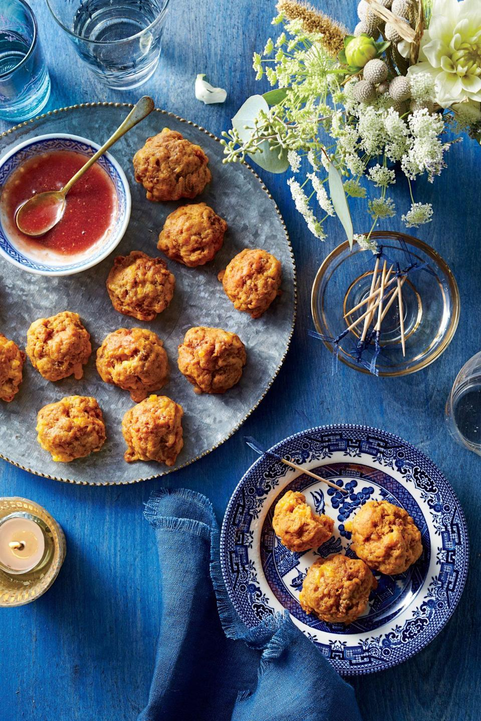 """<p><strong>Recipe: <a href=""""https://www.southernliving.com/recipes/sweet-potato-chorizo-sausage-bites"""" rel=""""nofollow noopener"""" target=""""_blank"""" data-ylk=""""slk:Sweet Potato and Chorizo Sausage Bites"""" class=""""link rapid-noclick-resp"""">Sweet Potato and Chorizo Sausage Bites</a></strong></p> <p>This recipe uses chorizo to give each bite a little kick and sweet potatoes add heartiness as well as another layer of flavor.</p>"""