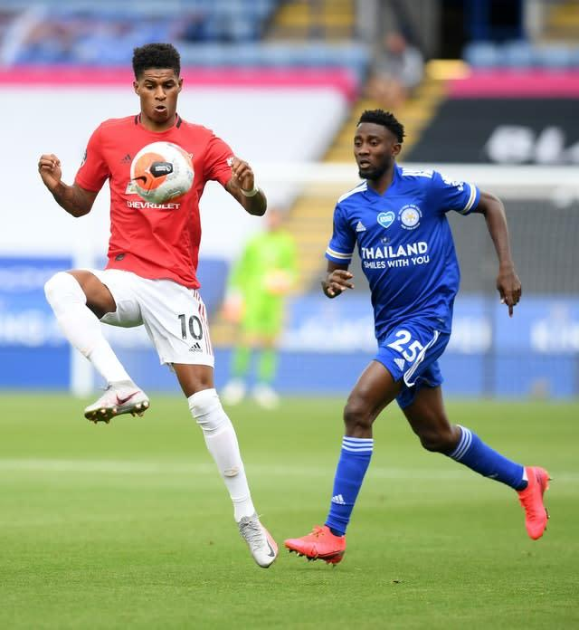 Wilfred Ndidi (right) had the best of the early chances (Michael Regan/PA)
