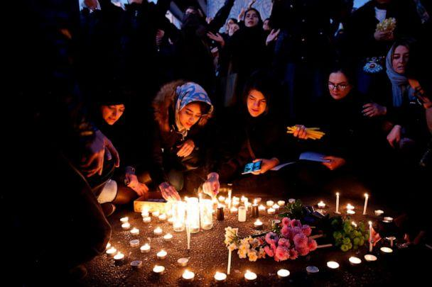 PHOTO: Iranians light candles for the victims of Ukraine International Airlines Boeing 737 during a gathering in front of the Amirkabir University in the capital Tehran, Iran, Jan. 11, 2020. (AFP via Getty Images)