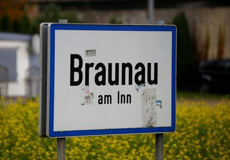 FILE PHOTO:The sign of Braunau am Inn, the city Hitler was born, is pictured in Braunau, Austria, October 22, 2016.    REUTERS/Leonhard Foeger/File Photo