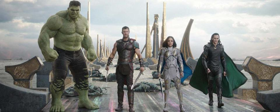 Hulk (Mark Ruffalo), Thor (Chris Hemsworth), Valkyrie (Tessa Thompson), and Loki (Tom Hiddleston) in <em>Thor: Ragarok</em>. (Photo: Marvel Studios)