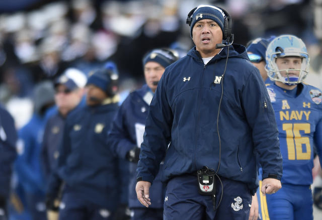 Navy head coach Ken Niumatalolo watches from the sideline in the first half of the Military Bowl NCAA college football game, Thursday, Dec. 28, 2017, in Annapolis, Md. (AP Photo/Gail Burton)