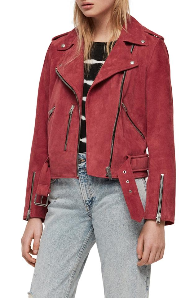 "$498, Nordstrom. <a href=""https://shop.nordstrom.com/s/allsaints-balfern-suede-biker-jacket/5313609?origin=category-personalizedsort&breadcrumb=Home%2FWomen%2FClothing%2FCoats%2C%20Jackets%20%26%20Blazers&color=raspberry%20pink"">Get it now!</a>"