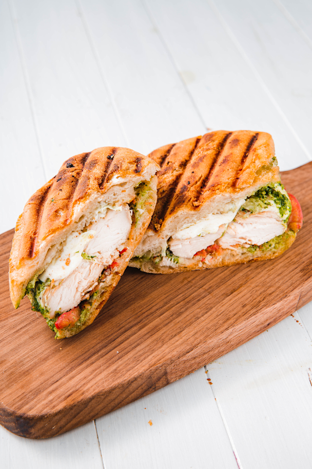 """<p>Pesto on everything, please. </p><p>Get the recipe from <a rel=""""nofollow"""" href=""""https://www.delish.com/cooking/recipe-ideas/a23365368/how-to-cook-a-panini/"""">Delish</a>. </p>"""