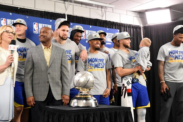 PORTLAND, OR - MAY 20: The Golden State Warriors are presented the Western Conference Finals Trophy after Game Four of the Western Conference Finals against the Portland Trail Blazers on May 20, 2019 at the Moda Center in Portland, Oregon. (Photo by Andrew D. Bernstein/NBAE via Getty Images)