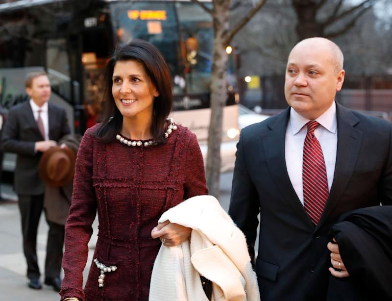 UN Ambassador-designate, South Carolina Gov. Nikki Haley and her husband Michael, arrive for a church service at St. John's Episcopal Church across from the White House in Washington, on Donald Trump's inauguration day