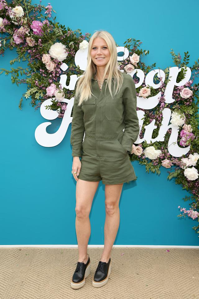 <p>Gwyneth's legs appeared to go on for days in her utility romper and Stella McCartney platforms at the Goop Health Summit in LA in 2019.</p>