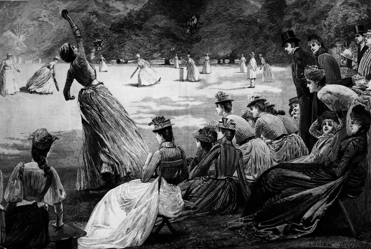 [ICCWWC2013] 14th September 1889:  A lady cricketer catching the ball during a game.  Original Artist: By Lucien Davis Illustrated London News  (Photo by Hulton Archive/Getty Images)