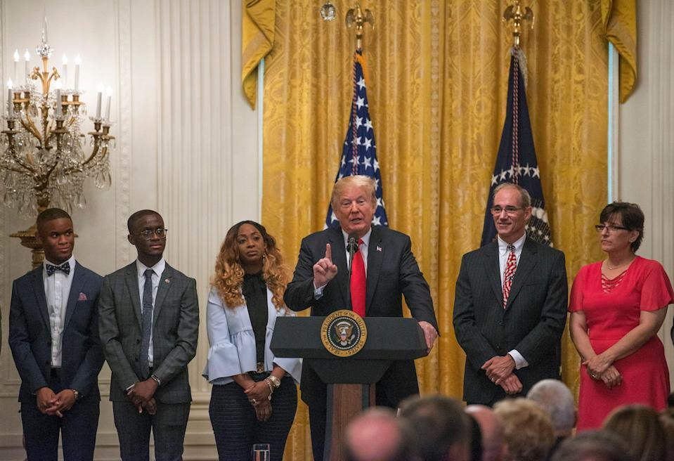 President Donald J Trump celebrates the six month anniversary of his tax cut at the White House last year. Credit: Patsy Lynch/MediaPunch /IPX