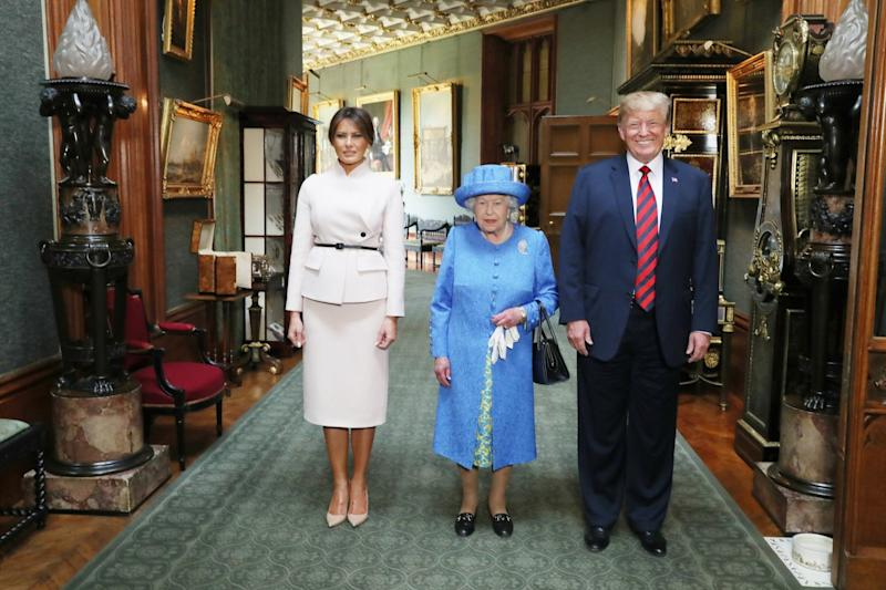 The Queen with President Trump and First Lady Melania Trump during their visit last year (PA)