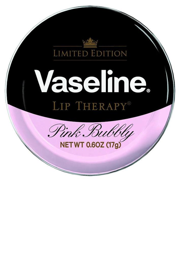 """<p>All the moisturizing goodness of regular Vaseline spiked with skin-softening champagne grape extract. </p><p><strong>Vaseline</strong> Lip Therapy Lip Balm Tin Pink Bubbly, $4.79, <a rel=""""nofollow noopener"""" href=""""https://www.walgreens.com/store/c/vaseline-lip-therapy-lip-balm-tin-pink-bubbly/ID=prod6336577-product"""" target=""""_blank"""" data-ylk=""""slk:walgreens.com"""" class=""""link rapid-noclick-resp"""">walgreens.com</a>.</p>"""