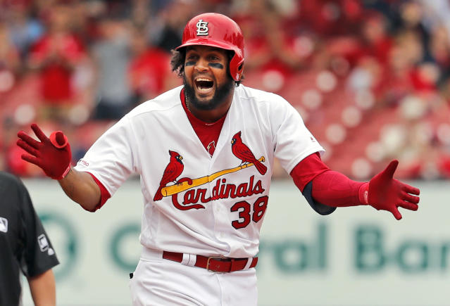 St. Louis Cardinals' Jose Martinez celebrates after hitting an RBI double during the sixth inning of a baseball game against the Los Angeles Dodgers Thursday, April 11, 2019, in St. Louis. (AP Photo/Jeff Roberson)