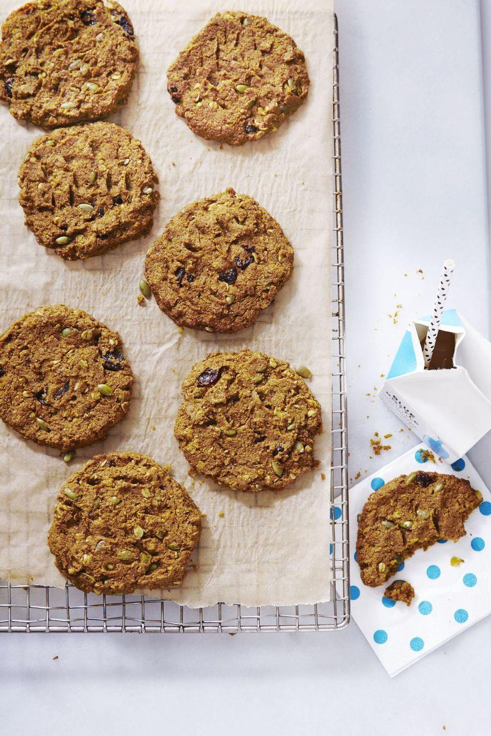 "<p>Allow us to introduce you to the newest member of the ""healthy desserts"" club: These chewy cookies, packed with protein <em>and </em>fiber.</p><p><em><a href=""https://www.goodhousekeeping.com/food-recipes/dessert/a35274/pumpkin-cherry-breakfast-cookies/"" rel=""nofollow noopener"" target=""_blank"" data-ylk=""slk:Get the recipe for Pumpkin-Cherry Breakfast Cookies »"" class=""link rapid-noclick-resp"">Get the recipe for Pumpkin-Cherry Breakfast Cookies »</a></em></p><p><strong>RELATED: </strong><a href=""https://www.goodhousekeeping.com/food-recipes/g4546/pumpkin-cookie-recipes/"" rel=""nofollow noopener"" target=""_blank"" data-ylk=""slk:20 Easy Pumpkin Cookies to Make This Fall"" class=""link rapid-noclick-resp"">20 Easy Pumpkin Cookies to Make This Fall</a></p>"