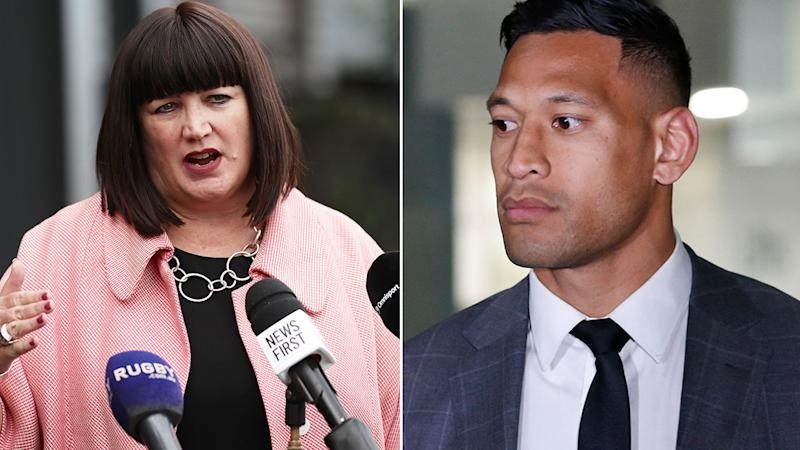 Pictured here, Rugby Australia CEO Raelene Castle and former Wallabies star Israel Folau.