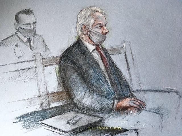 Court artist sketch by Elizabeth Cook of Julian Assange appearing at the Old Bailey in London for the ruling in his extradition case