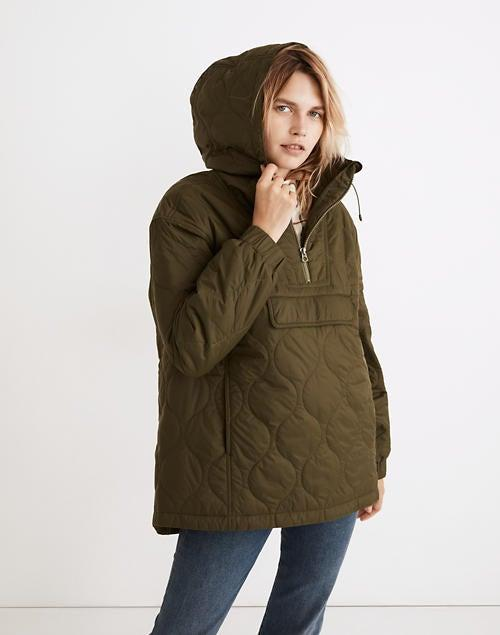 """<br><br><strong>Madewell</strong> Quilted Packable Popover Puffer Jacket, $, available at <a href=""""https://go.skimresources.com/?id=30283X879131&url=https%3A%2F%2Fwww.madewell.com%2Fquilted-packable-popover-puffer-jacket-NB255.html%3Fcolor%3DGR6652"""" rel=""""nofollow noopener"""" target=""""_blank"""" data-ylk=""""slk:Madewell"""" class=""""link rapid-noclick-resp"""">Madewell</a>"""