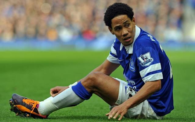 Then-Everton player from South Africa Steven Pienaar reacts during the English Premier League football match against Tottenham Hotspur November 3, 2013