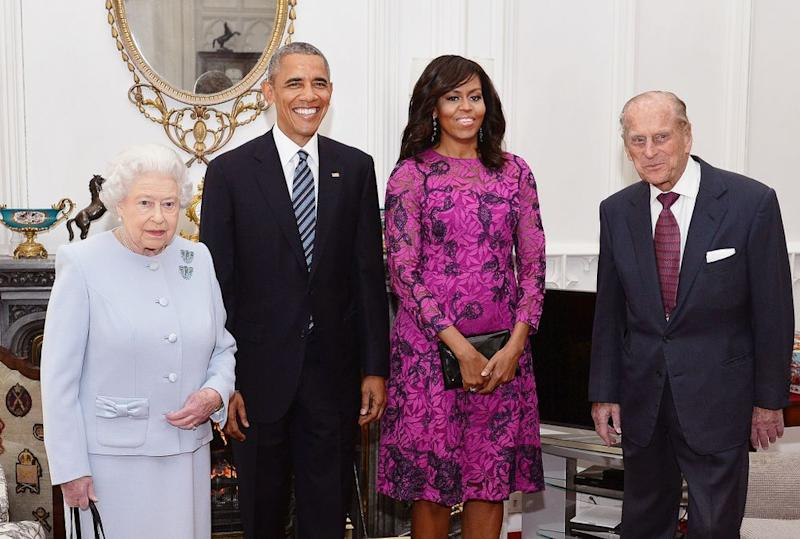 Queen Elizabeth, President Barack Obama, Michelle Obama, and Prince Philip in 2016