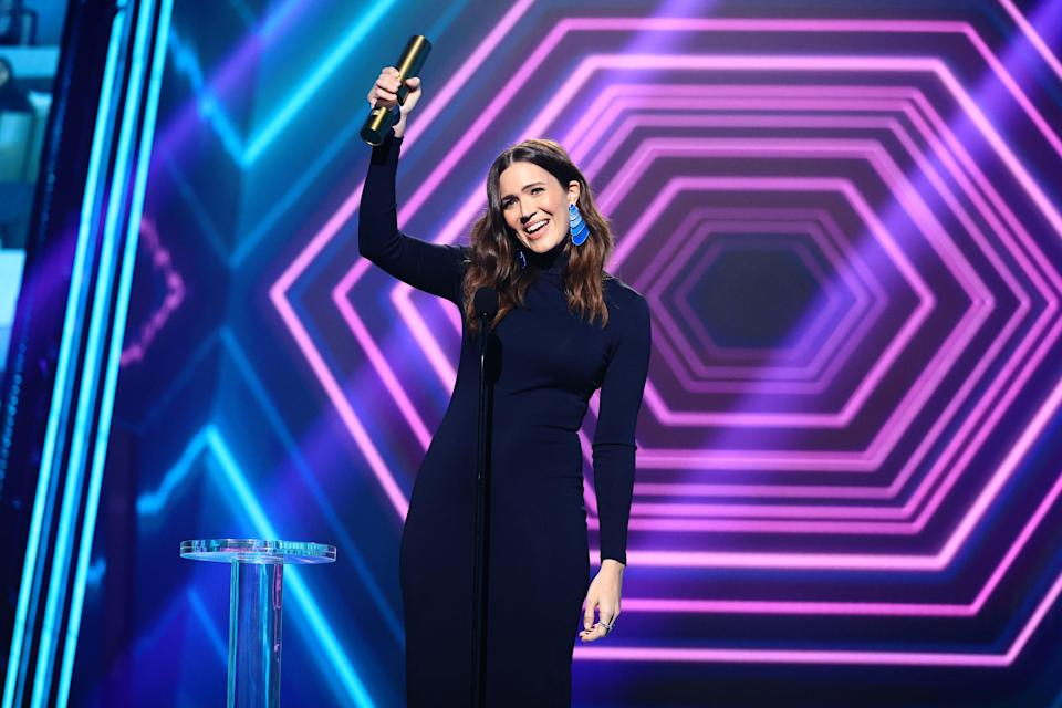 Mandy Moore accepts an award onstage at the 2020 E! People's Choice Awards