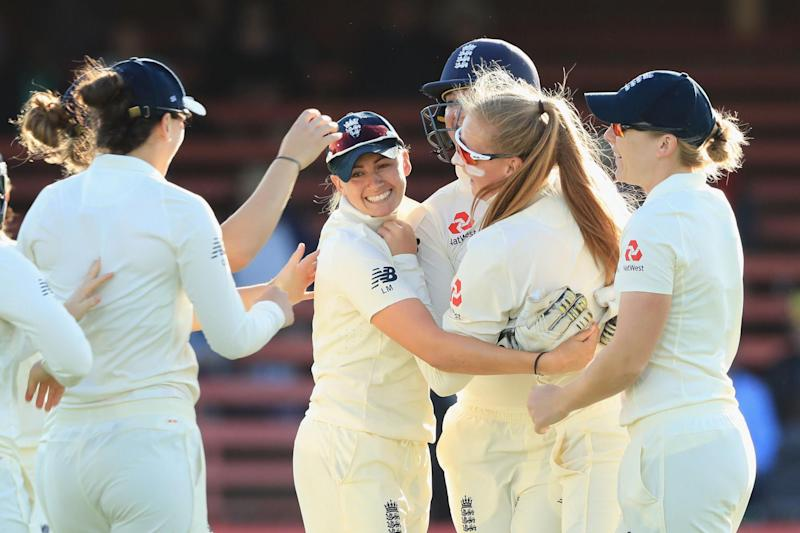 Out: Sophie Ecclestone celebrates the wicket of Beth Mooney: Getty Images