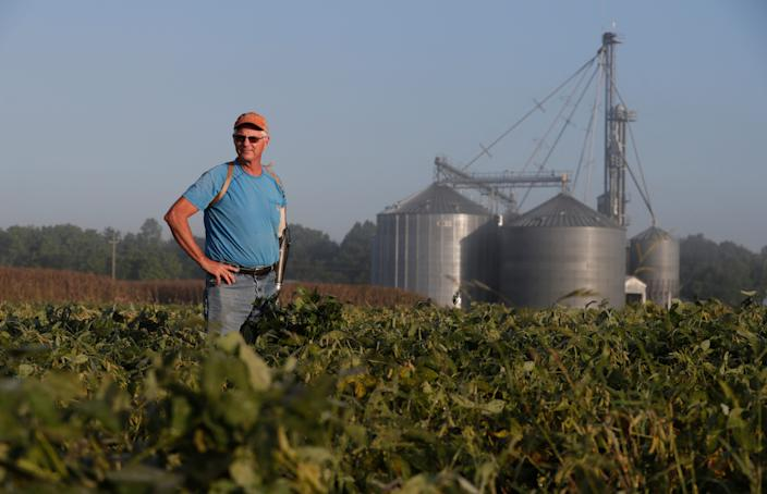 Jack Maloney looks over one of the soybean fields on his Little Ireland Farms in Brownsburg, Ind. Maloney says farmers want free trade.