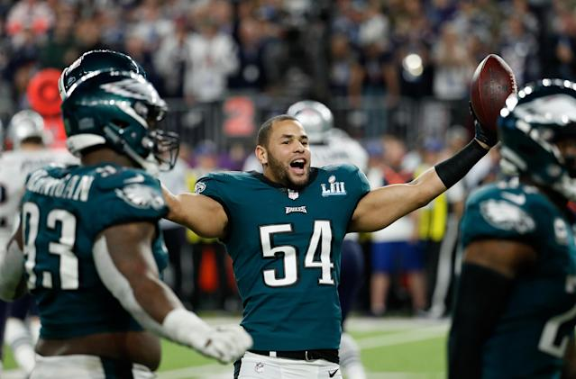 <p>Philadelphia Eagles' Kamu Grugier-Hill celebrates during the second half of the NFL Super Bowl 52 football game against the New England Patriots, Sunday, Feb. 4, 2018, in Minneapolis. (AP Photo/Matt York) </p>