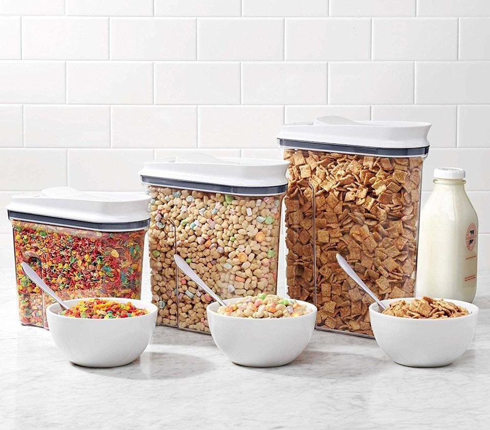 """Prove it's what's on the inside (of the cereal box) that counts. Who knew snacks could look so lovely?<br /><br /><strong>Promising review:</strong>""""Excellent product! Love the design, the crystal clear container, and the lid.<strong>Easy one-handed use.</strong>Our favorite cereal is not carried by the grocery closest to us, so we usually buy two boxes when we find it. I poured two boxes of the cereal into this container and there was still room to spare."""" —<a href=""""https://amzn.to/3tlUp9G"""" target=""""_blank"""" rel=""""nofollow noopener noreferrer"""" data-skimlinks-tracking=""""5902331"""" data-vars-affiliate=""""Amazon"""" data-vars-href=""""https://www.amazon.com/gp/customer-reviews/RTX4WNERZOJB?tag=bfmal-20&ascsubtag=5902331%2C25%2C37%2Cmobile_web%2C0%2C0%2C16540680"""" data-vars-keywords=""""cleaning"""" data-vars-link-id=""""16540680"""" data-vars-price="""""""" data-vars-product-id=""""20969096"""" data-vars-product-img="""""""" data-vars-product-title="""""""" data-vars-retailers=""""Amazon"""">Zoosopher<br /><br /></a><strong>Get it from Amazon for<a href=""""https://amzn.to/3ac7qva"""" target=""""_blank"""" rel=""""nofollow noopener noreferrer"""" data-skimlinks-tracking=""""5902331"""" data-vars-affiliate=""""Amazon"""" data-vars-asin=""""B00L9X4SNM"""" data-vars-href=""""https://www.amazon.com/dp/B00L9X4SNM?tag=bfmal-20&ascsubtag=5902331%2C25%2C37%2Cmobile_web%2C0%2C0%2C16540695"""" data-vars-keywords=""""cleaning"""" data-vars-link-id=""""16540695"""" data-vars-price="""""""" data-vars-product-id=""""18081127"""" data-vars-product-img=""""https://m.media-amazon.com/images/I/51+kMY7HFVL.jpg"""" data-vars-product-title=""""OXO Good Grips Airtight POP Large Cereal Dispenser (4.5 Qt)"""" data-vars-retailers=""""Amazon"""">$22.99+</a>(available in eight sizes and four styles).</strong>"""