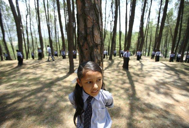 Children hug trees as they prepare to take part in an attempt to create a Guinness World Record for the most number of people hugging trees for two minutes in Kathmandu June 5, 2011. 879 people took part in the event, which was held on World Environment Day to spread the message of saving the environment. REUTERS/Navesh Chitrakar