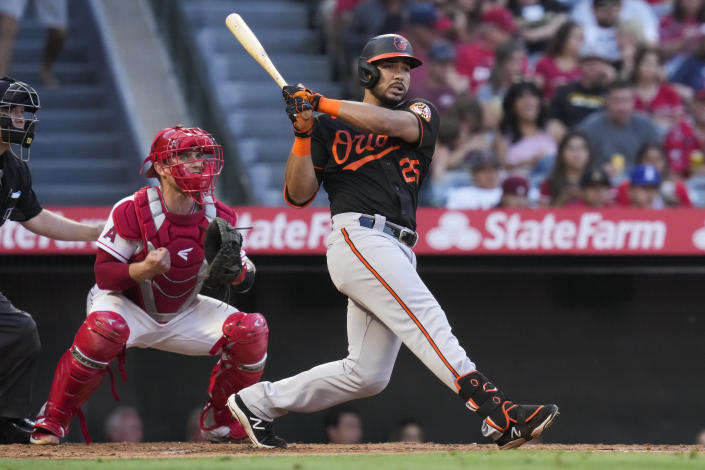 Baltimore Orioles' Anthony Santander (25) doubles during the third inning of a baseball game against the Los Angeles Angels Friday, July 2, 2021, in Anaheim. Austin Hays, Trey Mancini and Ryan Mountcastle scored. (AP Photo/Ashley Landis)