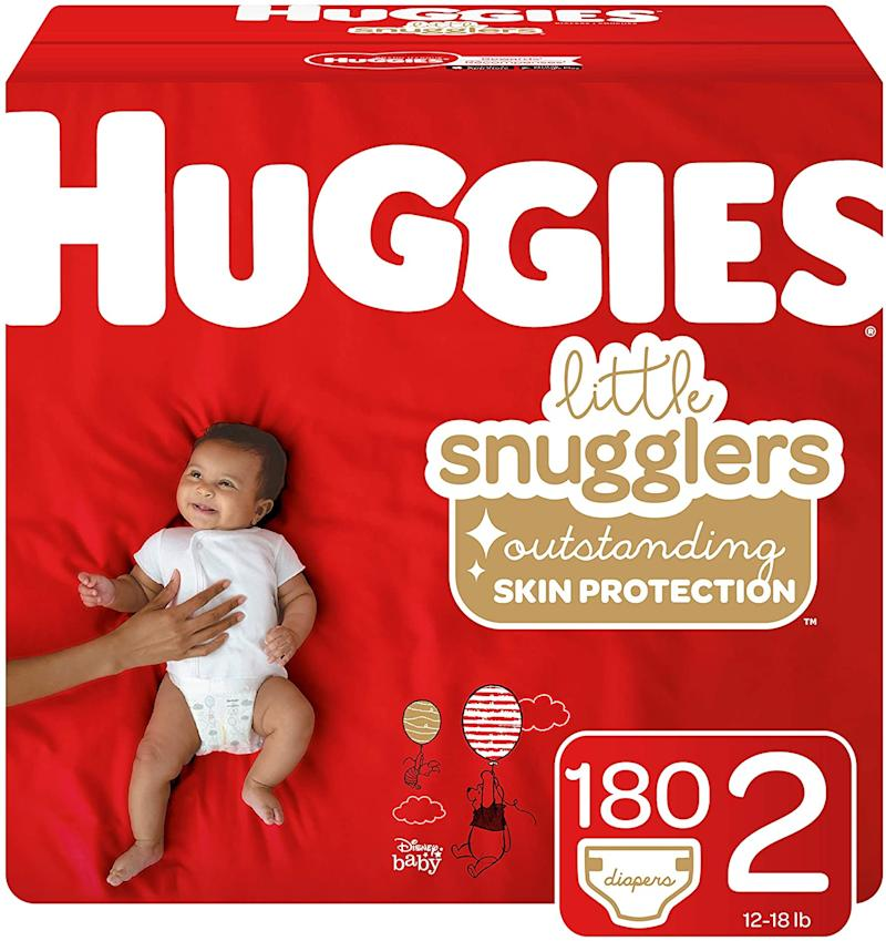Huggies Little Snugglers Baby Diapers, Size 2, 180 Count. Image via Amazon.