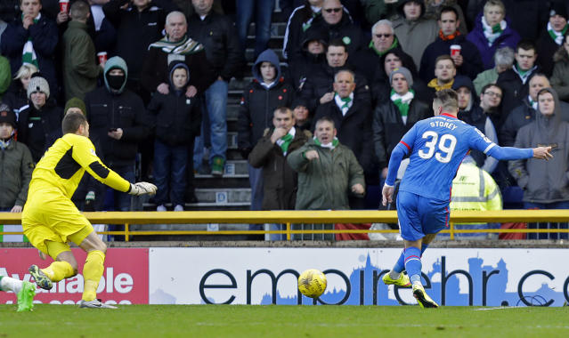 "Football Soccer - Inverness Caledonian Thistle v Celtic - Ladbrokes Scottish Premiership - Tulloch Caledonian Stadium - 29/11/15 Miles Storey scores the first goal for Inverness Action Images via Reuters / Graham Stuart Livepic EDITORIAL USE ONLY. No use with unauthorized audio, video, data, fixture lists, club/league logos or ""live"" services. Online in-match use limited to 45 images, no video emulation. No use in betting, games or single club/league/player publications. Please contact your account representative for further details."
