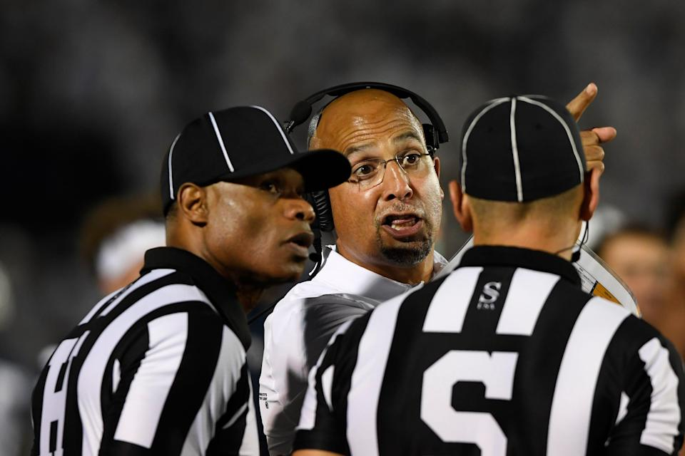 Penn State head coach James Franklin talks with officials during the game against Auburn.