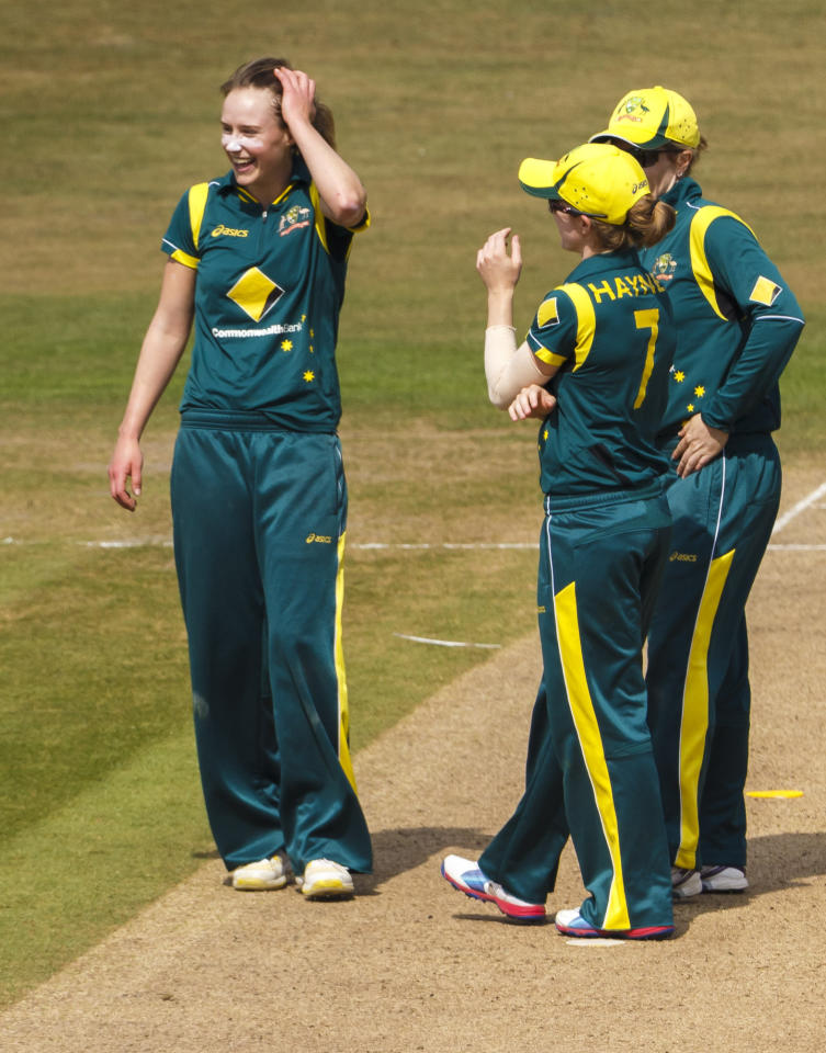 Australia's Sarah Coyte (left) reacts after bowling England's Arran Brindle for 42 during the One Day International at The County Ground, Hove.