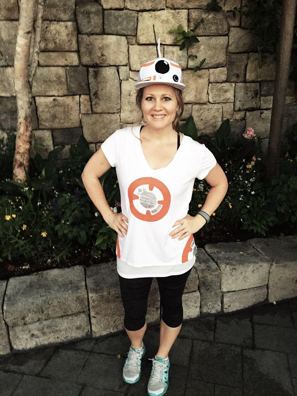 """<p>Use the force to quickly turn a white t-shirt and hat into this easy <a href=""""https://www.countryliving.com/diy-crafts/g21287723/diy-star-wars-costumes/"""" rel=""""nofollow noopener"""" target=""""_blank"""" data-ylk=""""slk:Star Wars costume"""" class=""""link rapid-noclick-resp""""><em>Star Wars</em> costume</a> for women.</p><p><strong>Get the tutorial at <a href=""""https://allfortheboys.com/bb-8/"""" rel=""""nofollow noopener"""" target=""""_blank"""" data-ylk=""""slk:All for the Boys"""" class=""""link rapid-noclick-resp"""">All for the Boys</a>.</strong></p><p><strong><a class=""""link rapid-noclick-resp"""" href=""""https://www.amazon.com/Hanes-Womens-T-Shirt-Medium-White/dp/B00KRYLKH6/?tag=syn-yahoo-20&ascsubtag=%5Bartid%7C10050.g.4571%5Bsrc%7Cyahoo-us"""" rel=""""nofollow noopener"""" target=""""_blank"""" data-ylk=""""slk:SHOP WHITE T-SHIRT"""">SHOP WHITE T-SHIRT</a></strong></p>"""