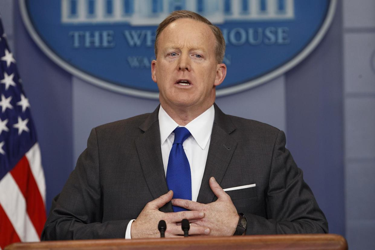 White House press secretary Sean Spicer speaks during the daily press briefing at the White House in Washington on March 20, 2017. (Photo: Evan Vucci/AP)