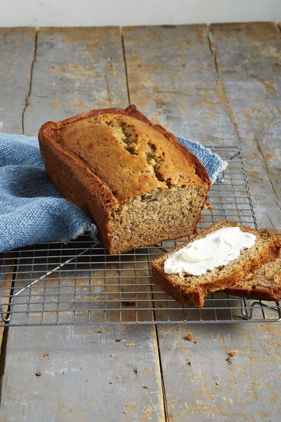 """<p>The more ripe the bananas are, the better! We're obsessed with how brown sugar and vanilla extract turn this loaf into a sweet-and-savory bite you'll want again and again.</p><p><em><em><a href=""""https://www.goodhousekeeping.com/food-recipes/dessert/a40395/homestyle-banana-bread-recipe/"""" rel=""""nofollow noopener"""" target=""""_blank"""" data-ylk=""""slk:Get the Homestyle Banana Bread recipe »"""" class=""""link rapid-noclick-resp"""">Get the Homestyle Banana Bread recipe »</a></em></em></p><p><strong>RELATED:</strong><a href=""""https://www.goodhousekeeping.com/food-recipes/g32071475/bread-machine-recipes/"""" rel=""""nofollow noopener"""" target=""""_blank"""" data-ylk=""""slk:The Best Recipes for Your Bread Machines"""" class=""""link rapid-noclick-resp""""> The Best Recipes for Your Bread Machines</a></p>"""