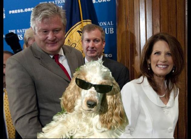 "Michele Bachmann and the doggie sunglasses  Despite a poor showing in the Iowa caucuses, Michele Bachmann was cheery in a speech to supports. So upbeat, she mentioned that her husband Marcus had spent a recent day purchasing ""doggie sunglasses"" for their pooch Boomer as she pushed for last minute votes.  Animals and eyewear? Magic meme."